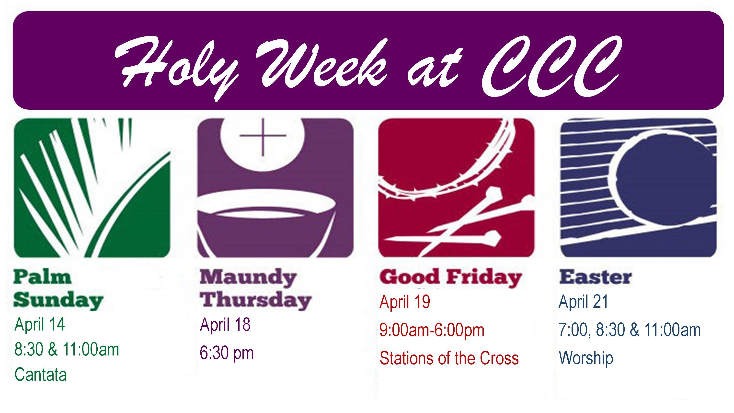 Holy Week Schedule 2019 2
