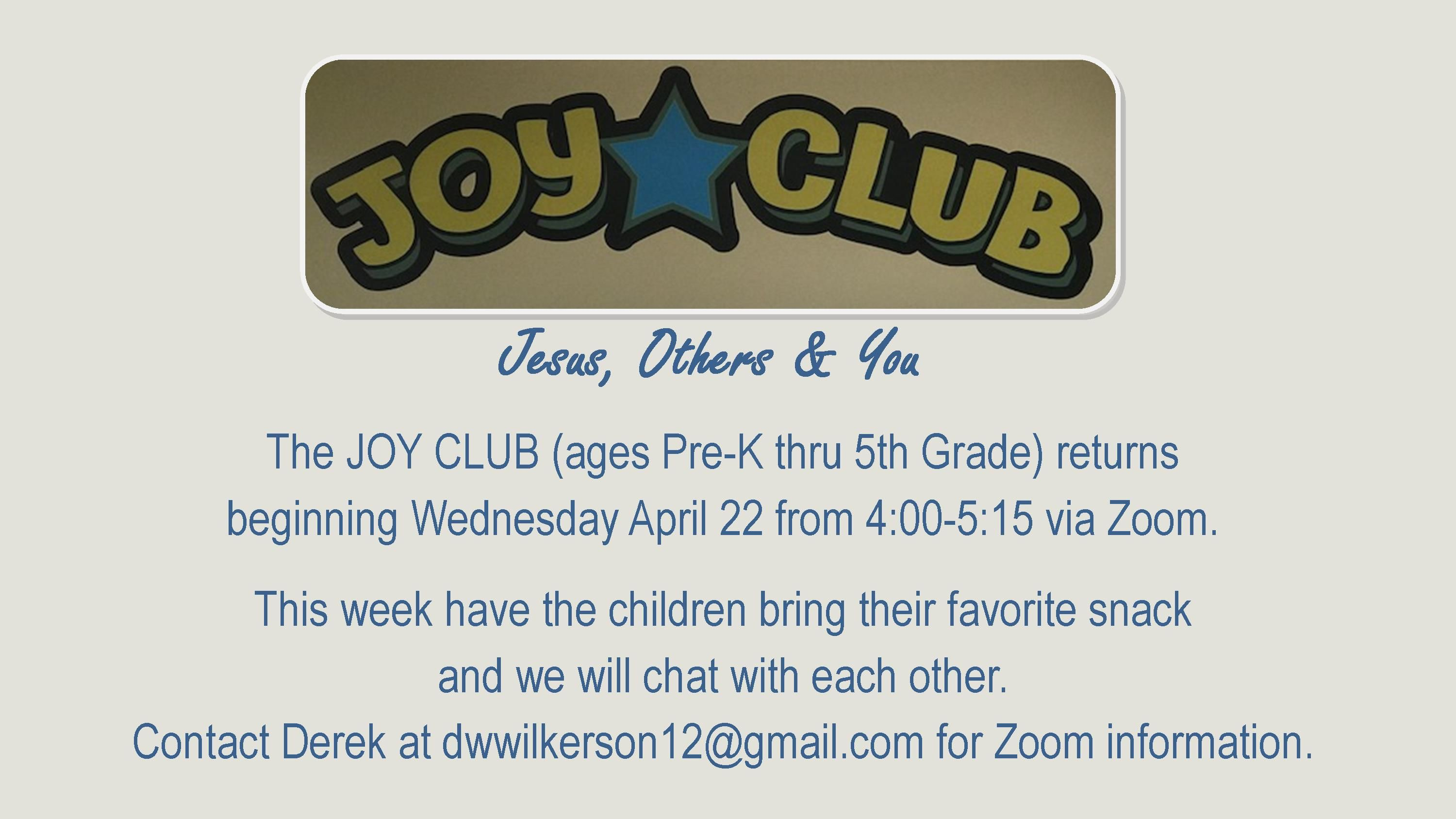 Joy Club Returns FB