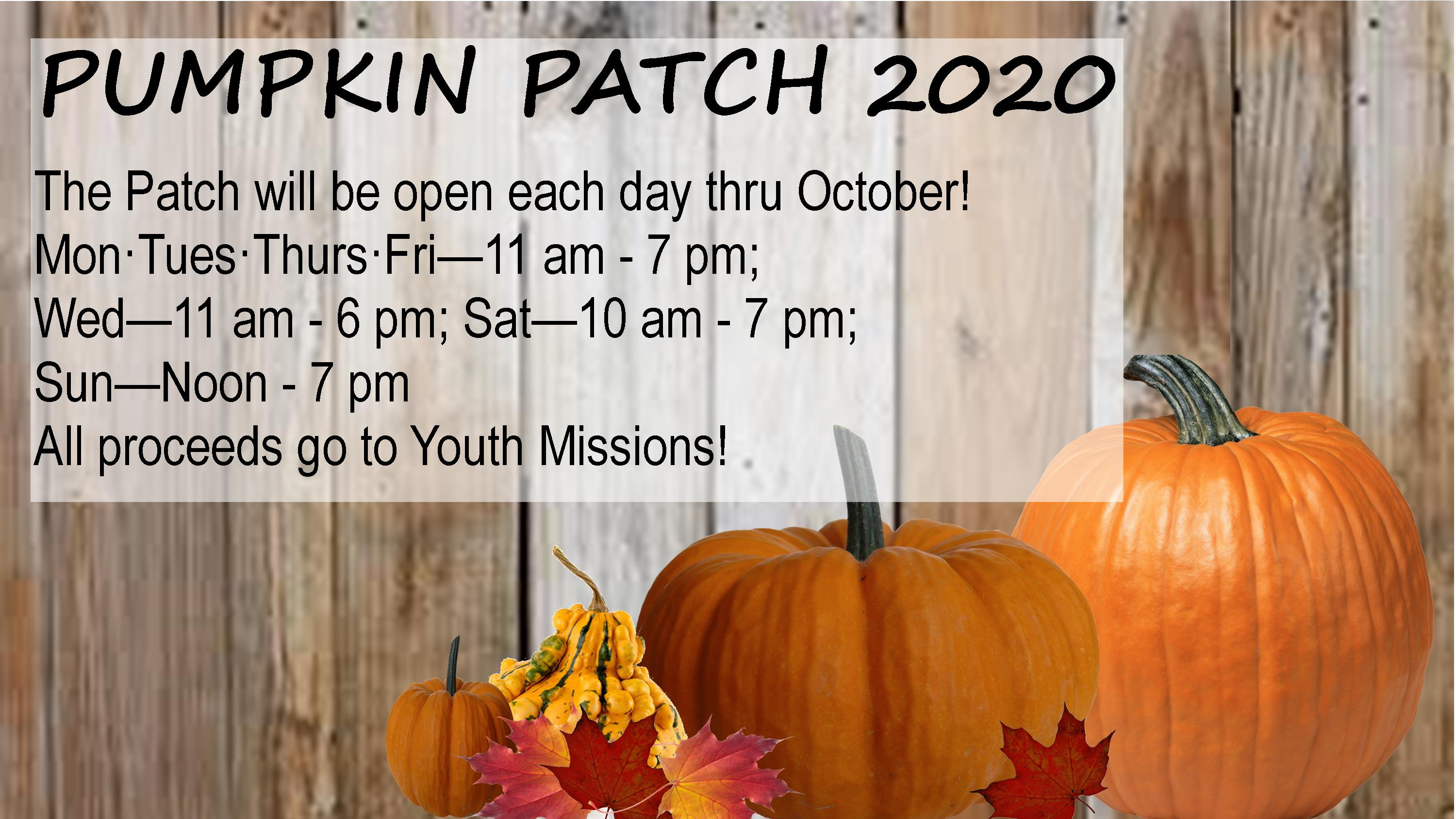 Pumpkin Patch 2020 Schedule