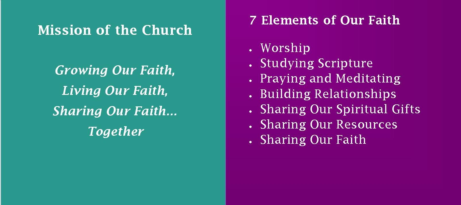 Mission Seven Elements of Faith