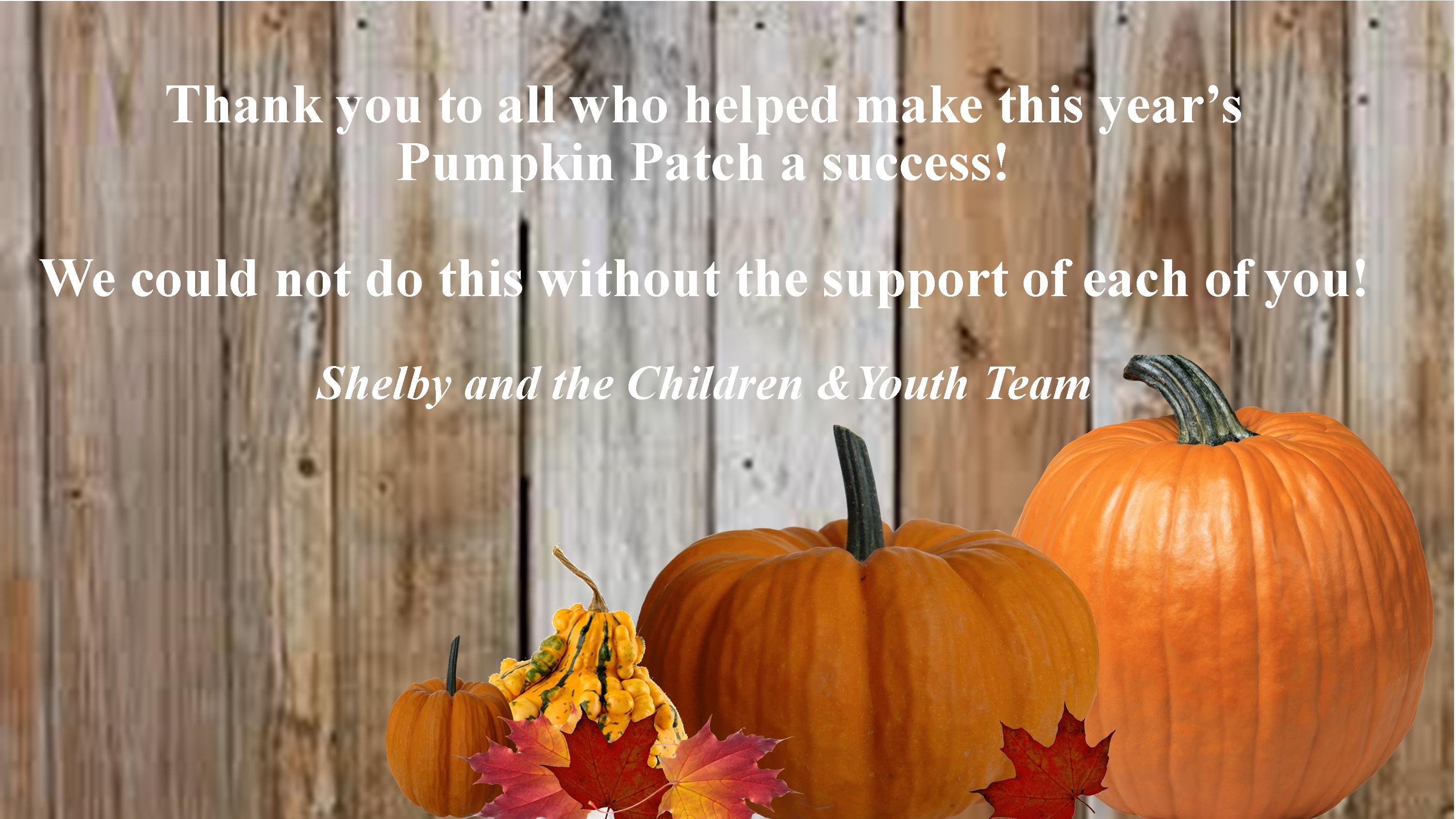 Pumpkin Patch 2020 Thank You